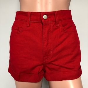 American Apparel High Waisted Red Denim Shorts